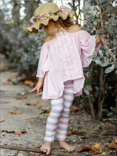 Girls Lace Trim Halter Neck Tie Top & Printed Leggings Set - Pink / 2T/3T - Girls Spring Casual Set