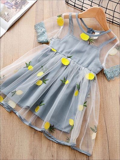 Girls Lace Trim Sleeve Pineapple Tulle Dress - Blue / 4T - Girls Spring Dressy Dress