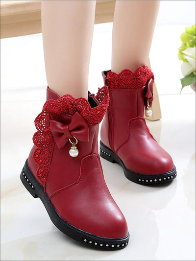Girls Lace Trimmed Crystal Embellished Bow Tie Ankle Boots - Red / 1 - Girls Boots