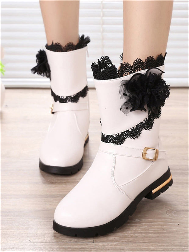 Girls Lace Trimmed Flower Applique Mid-Calf Boots - Girls Boots