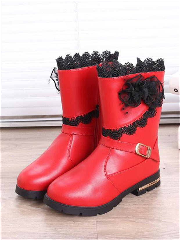 Girls Lace Trimmed Flower Applique Mid-Calf Boots - Red / 1 - Girls Boots
