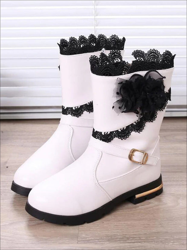 Girls Lace Trimmed Flower Applique Mid-Calf Boots - White / 1 - Girls Boots