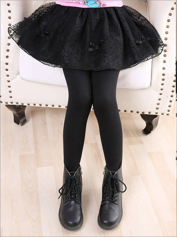 Girls Lace Tutu Bow Skirt Leggings - Black / 3T - Girls Leggings
