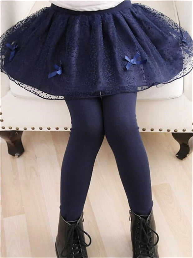 Girls Lace Tutu Bow Skirt Leggings - Navy / 3T - Girls Leggings