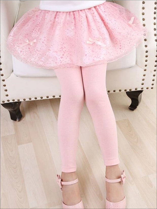 Girls Lace Tutu Bow Skirt Leggings - Pink / 3T - Girls Leggings
