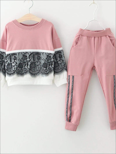 Girls Lace Two Tone Tracksuit - Pink / 3T - Girls Fall Casual Set