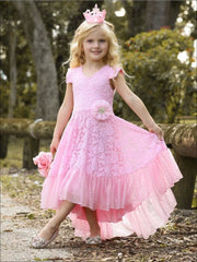 Girls Lace V-Neck Flutter Sleeve Hi-Lo Dress with Ruffled Hem - Girls Spring Dressy Dress