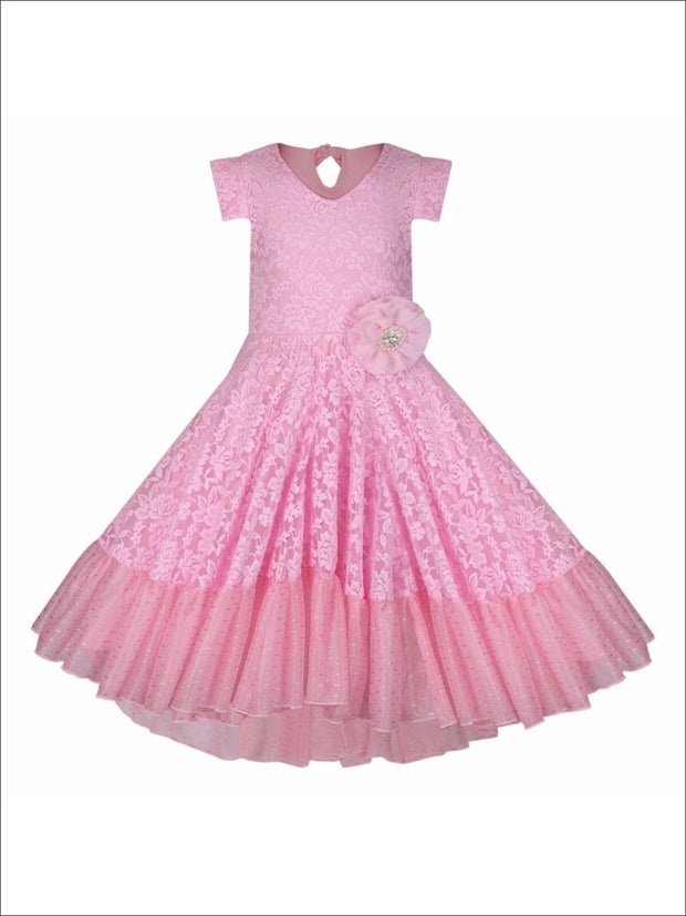 Girls Lace V-Neck Flutter Sleeve Hi-Lo Dress with Ruffled Hem - Pink / 2T/3T - Girls Spring Dressy Dress