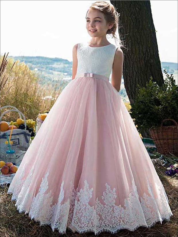 Girls Lace White and Pink Princess Gown - Pink / 2T - Girls Spring Dressy Dress