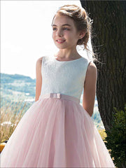 Girls Lace White and Pink Princess Gown - Girls Spring Dressy Dress