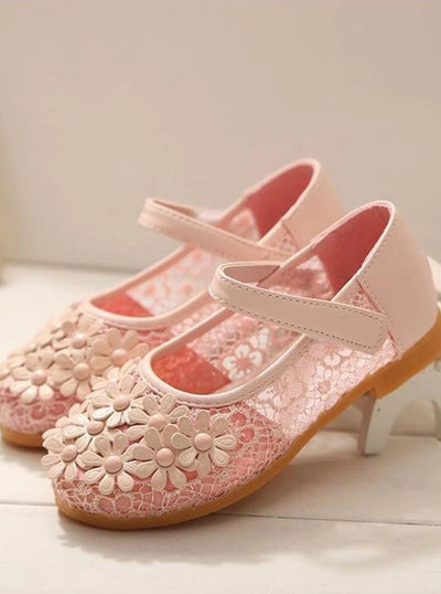 Girls Lace With Floral Applique Flats Shoes - Pink / 6 - Girls Flats