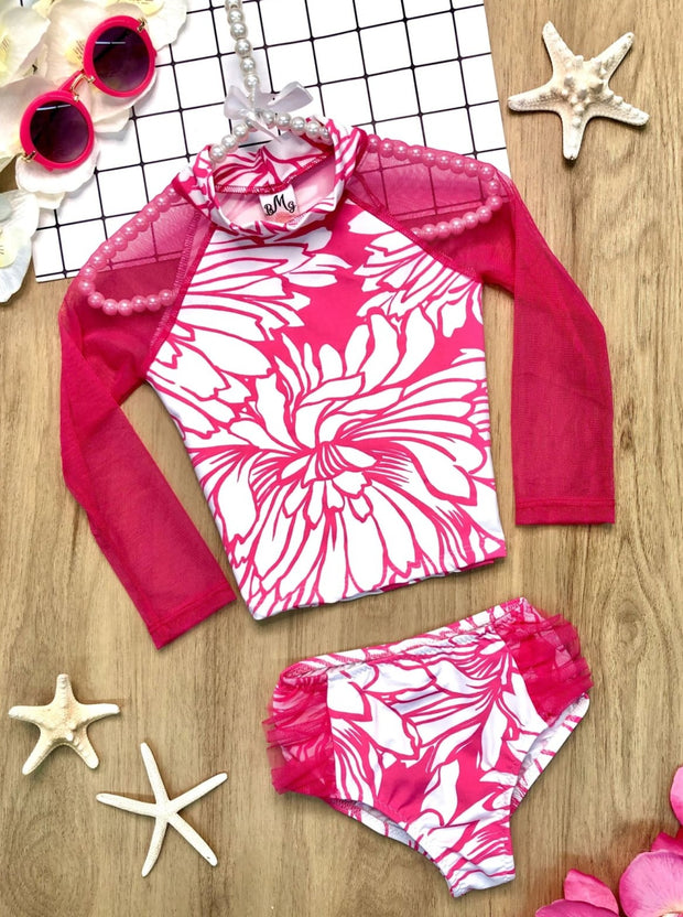 Girls Lace/Mesh Sleeve Ruffled Bottom Rash Guard Two Piece Swimsuit - Fuchsia / 2T/3T - Girls Two Piece Swimsuit