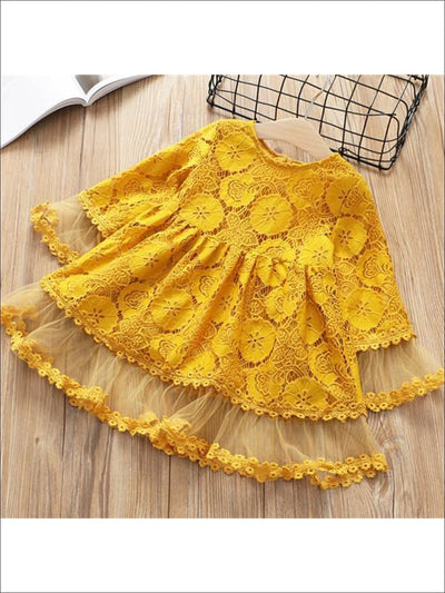 Girls Lacey Bohemian Bell Sleeve Dress - Yellow / 2T - Girls Fall Dresses