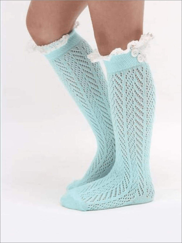 Girls Lacey Calf Length Boot Topper Socks - Girls Boots