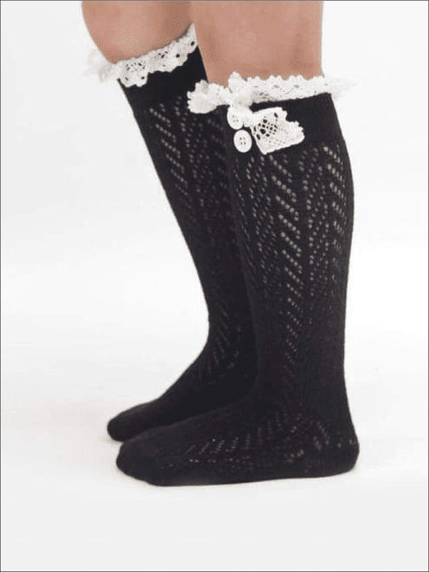 Girls Lacey Calf Length Boot Topper Socks - Black / 2T - 7Y - Girls Boots