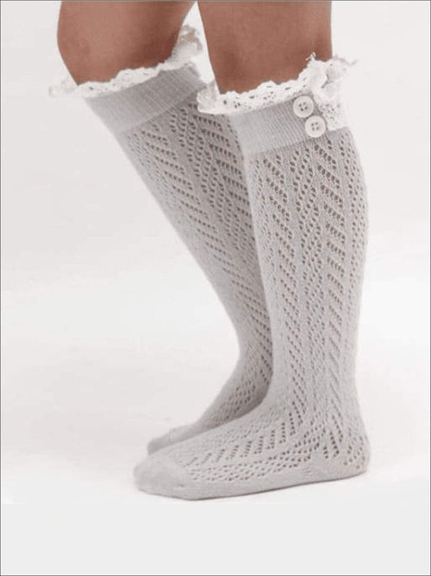 Girls Lacey Calf Length Boot Topper Socks - Gray / 2T - 7Y - Girls Boots