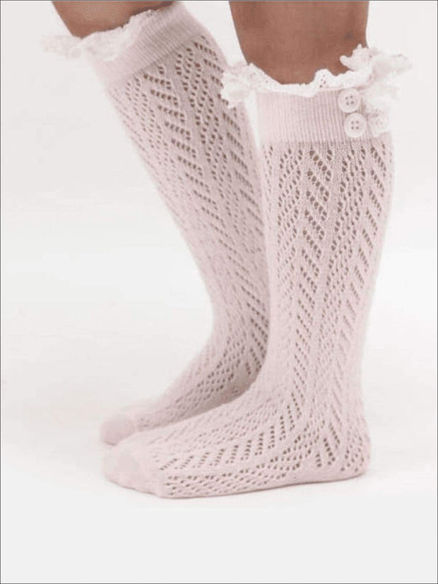 Girls Lacey Calf Length Boot Topper Socks - Pink / 2T - 7Y - Girls Boots