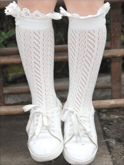 Girls Lacey Calf Length Boot Topper Socks - White / 2T - 7Y - Girls Boots