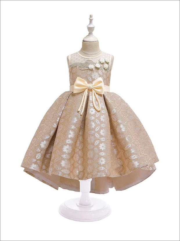 Girls Lacey Holiday Party Dress - Champagne / 3T - Girls Fall Dressy Dresses