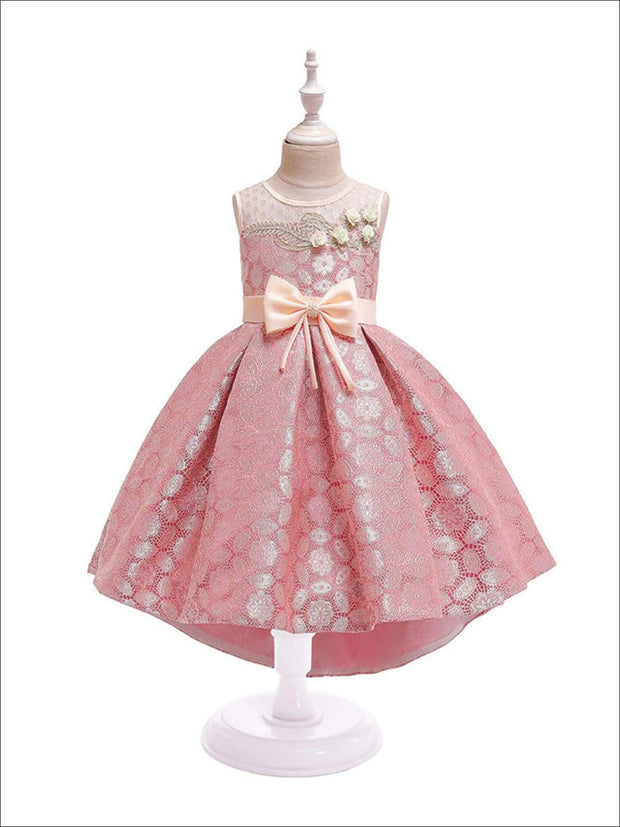 Girls Lacey Holiday Party Dress - Pink / 3T - Girls Fall Dressy Dresses