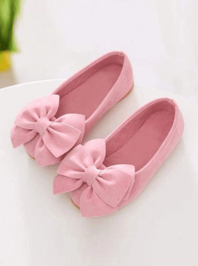 Girls Large Bow Flats Shoes (Light Pink Hot Pink Yellow) - Girls Flats