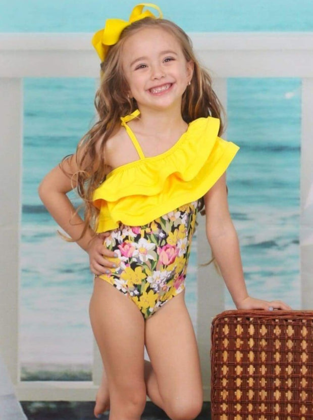 Girls Large Double Ruffled One Shoulder Floral One Piece Swimsuit - Girls One Piece Swimsuit