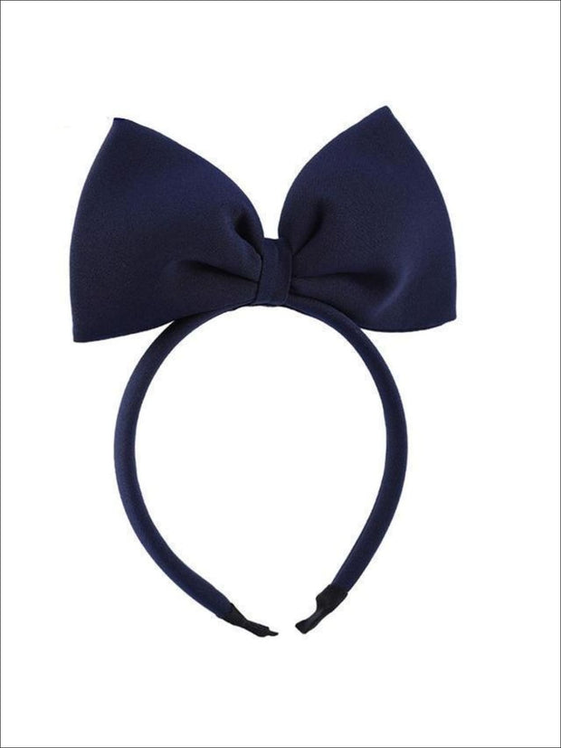 Girls Large Hair Bow Headband - navy blue - Hair Accessories