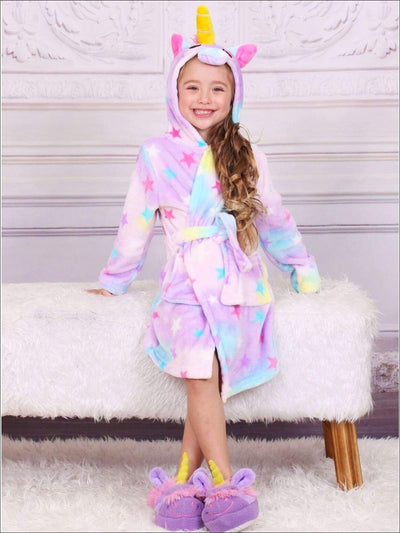 Girls Lavender Unicorn Star Print Bathrobe - Unicorn Bathrobe