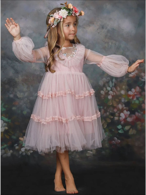 Girls Layered Ruffled Princess Dress - Girls Spring Dressy Dress