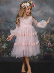 Girls Layered Ruffled Princess Dress - 3T / Pink - Girls Spring Dressy Dress