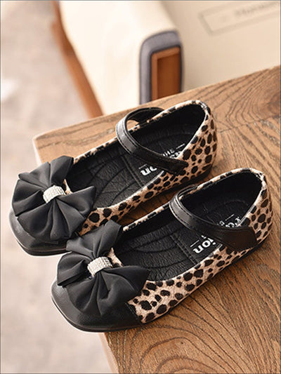 Girls Leather Animal Print Flats with Rhinestone and Bow Embellishments - Brown / 5 - Girls Flats