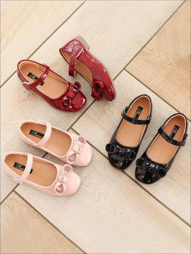 Girls Leather Flats with Bow (3 Color Options) - Girls Flats