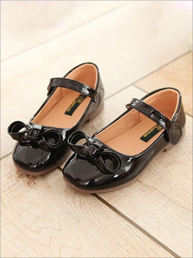 Girls Leather Flats with Bow (3 Color Options) - Black / 1 - Girls Flats