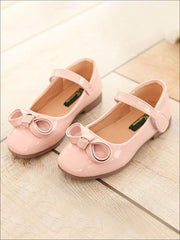 Girls Leather Flats with Bow (3 Color Options) - Pink / 1 - Girls Flats