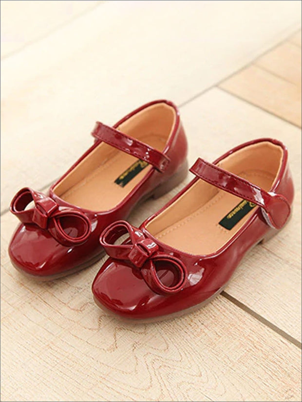 Girls Leather Flats with Bow (3 Color Options) - Red / 1 - Girls Flats