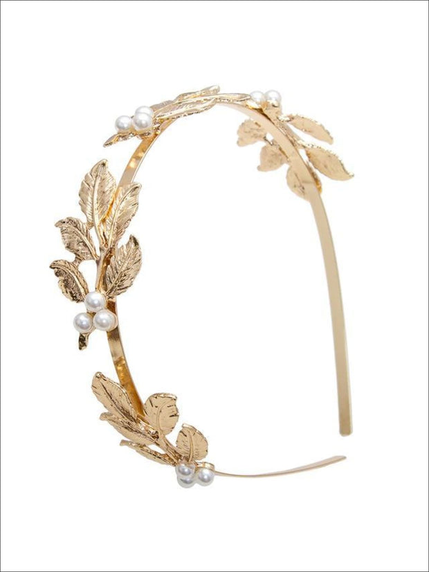 Girls Leaves Pearl Headband ( 2 color options) - Gold / One - Hair Accessories