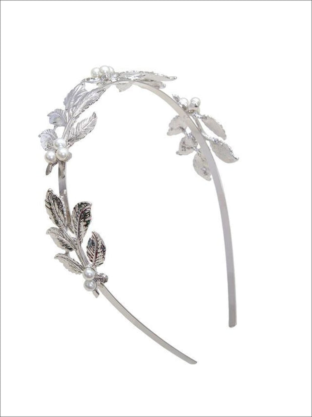Girls Leaves Pearl Headband ( 2 color options) - Silver / One - Hair Accessories