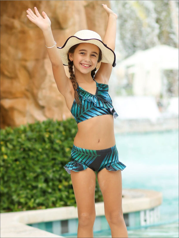 Girls Leaves Print Ruffled Faux Wrap Bikini with Matching Long Sleeve Aloha Top - Girls Two Piece Swimsuit