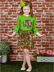 Girls Leopard Clover Ruffled Tunic and Leopard Skirt Set - Girls St. Patricks Set