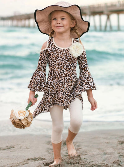 Girls Leopard Cold Shoulder Hi-Lo Bell Sleeve Tunic and Leggings Set - Beige / 2T/3T - Girls Spring Casual Set