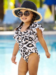 Girls Leopard Double Ruffle One Piece Swimsuit - Girls One Piece Swimsuit