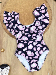 Girls Leopard Double Ruffle One Piece Swimsuit - Black / 12MOS/2T - Girls One Piece Swimsuit