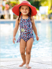 Girls Leopard Fringe One Piece Swimsuit - Girls One Piece Swimsuit