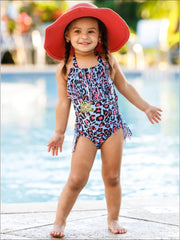 Girls Leopard Fringe One Piece Swimsuit - Blue / 2T/3T - Girls One Piece Swimsuit