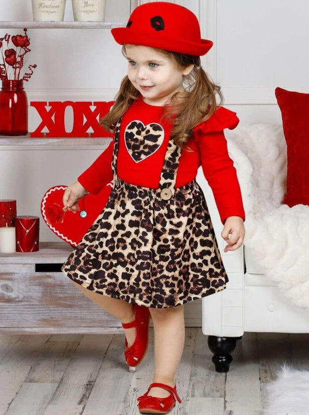 Girls Leopard Heart Ruffled Top and Overall Dress - Girls Fall Casual Set