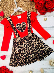Girls Leopard Heart Ruffled Top and Overall Dress - Red / 2T - Girls Fall Casual Set