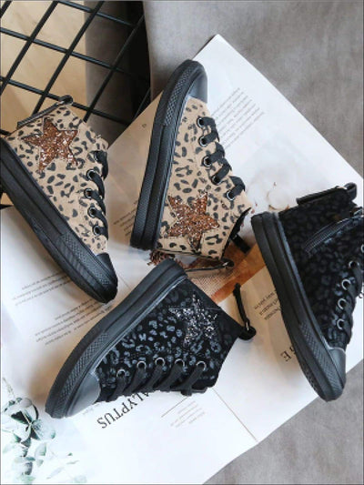 Girls Leopard Hi Top Sneakers with Sequin Star Patch - Girls Sneakers