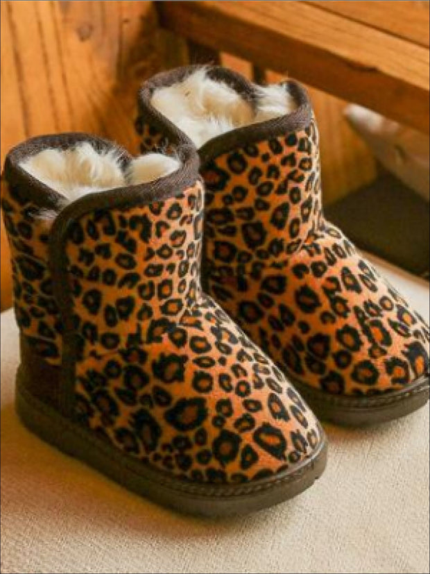 Girls Leopard Print Ankle Length Furry Boots (2 Colors Options) - Girls Boots