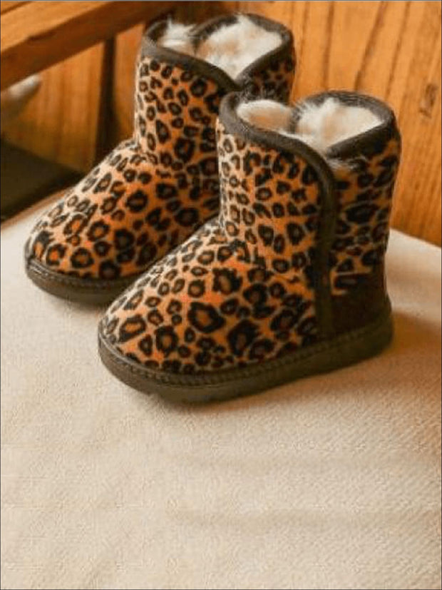 Girls Leopard Print Ankle Length Furry Boots (2 Colors Options) - Brown / 1 - Girls Boots