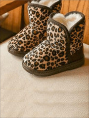 Girls Leopard Print Ankle Length Furry Boots (2 Colors Options) - Khaki / 1 - Girls Boots